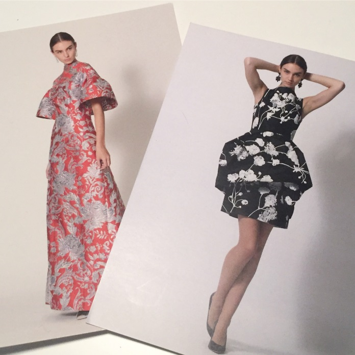 Postcards of model Jessica LeBleis wearing couture fashion by Lee Anderson.