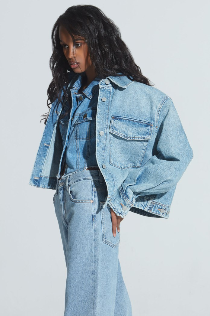 Denim look with model Nasri of One Management NYC. Fashion stylist Brit Lovoi. Love the hair on this look.